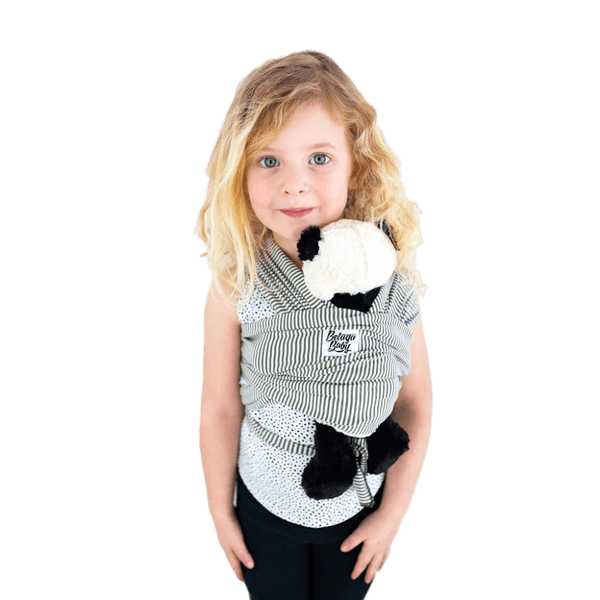 """Amsterdam"" - Olive & Ivory Stripe Mini Beluga - Children's Doll Carrier"