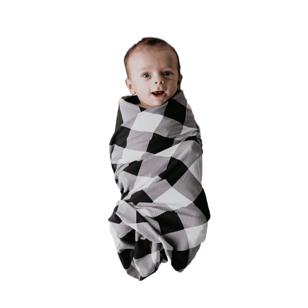 Swaddle Oversized Black + White Buffalo Plaid - The Justine - Beluga Baby - Made in North America
