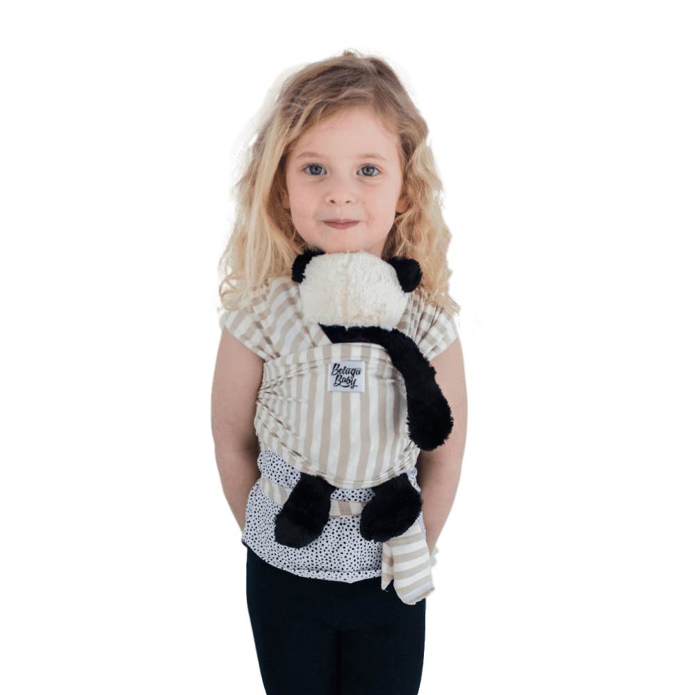 Children's Doll Carrier Sand & Ivory Stripe - Bondi - Beluga Baby - Made in North America