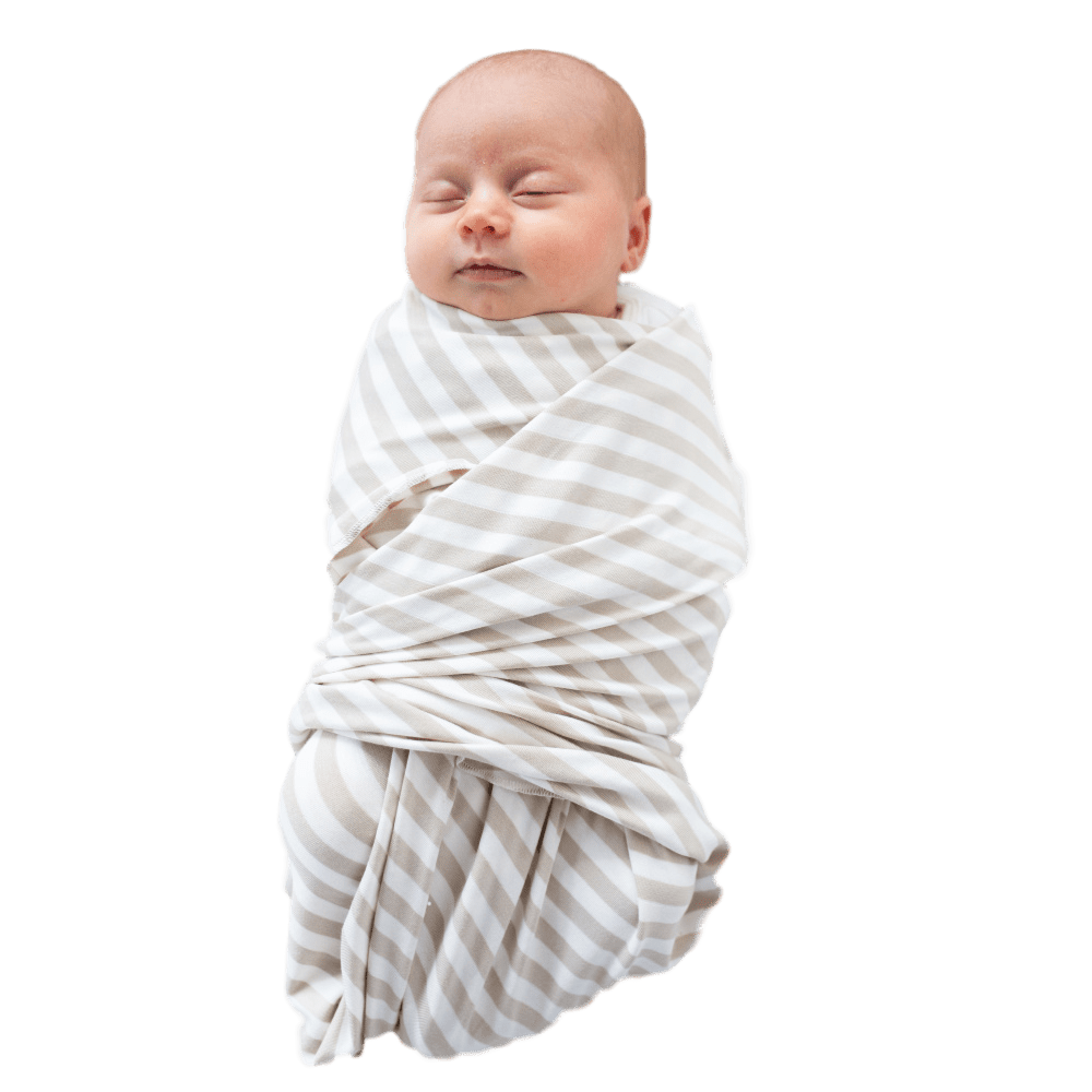 Swaddle Oversized Sand & Ivory Stripe - Bondi - Beluga Baby - Made in North America