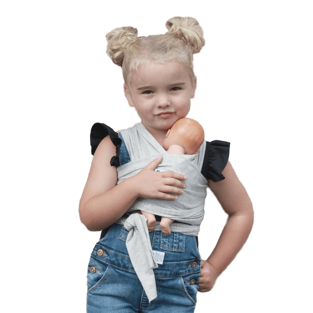 Children's Doll Carrier Light Grey - The Rachel - Beluga Baby - Made in North America