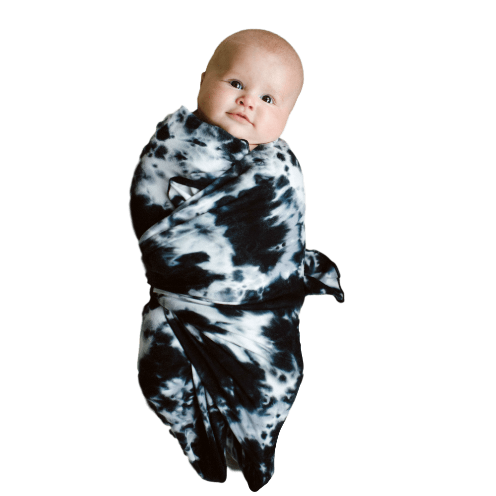Swaddle Charcoal Tie Dye - The Joni - Beluga Baby - Made in North America