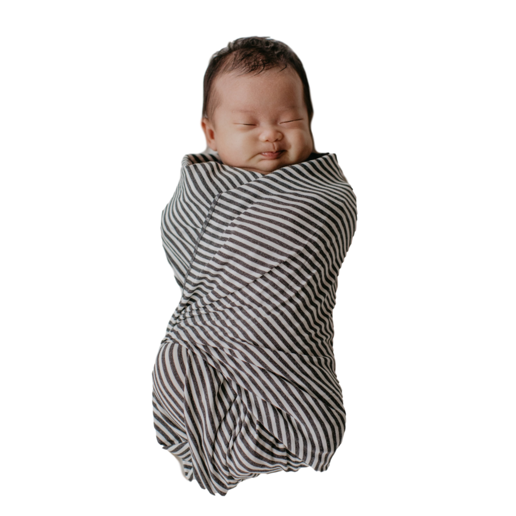The Lori (Charcoal + White Stripe) Oversized Swaddle