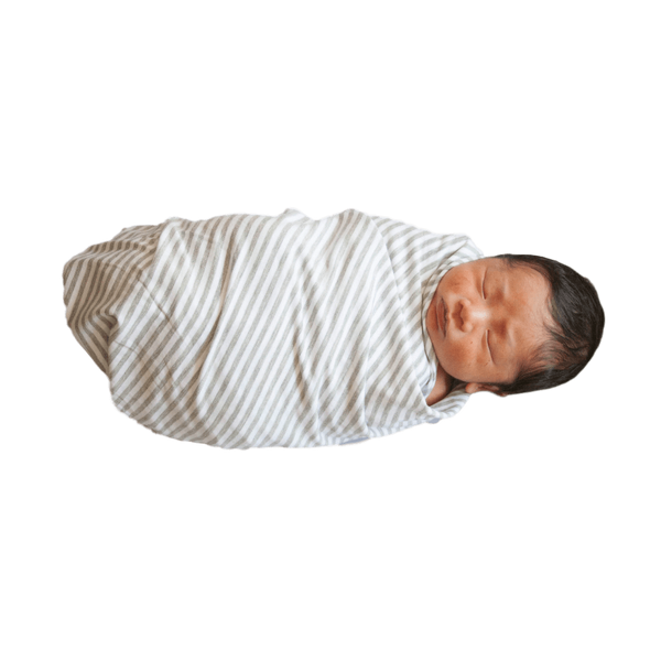 Shannon (Light Grey + White Stripe) Oversized Swaddle