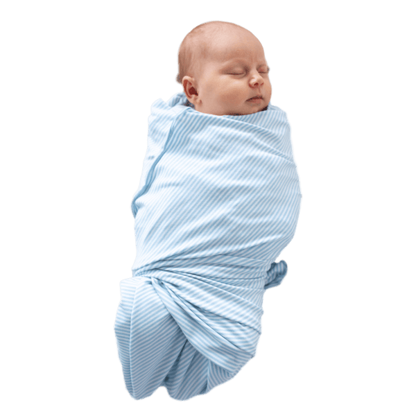 """Santorini"" - Blue & Ivory Stripe Oversized Swaddle"