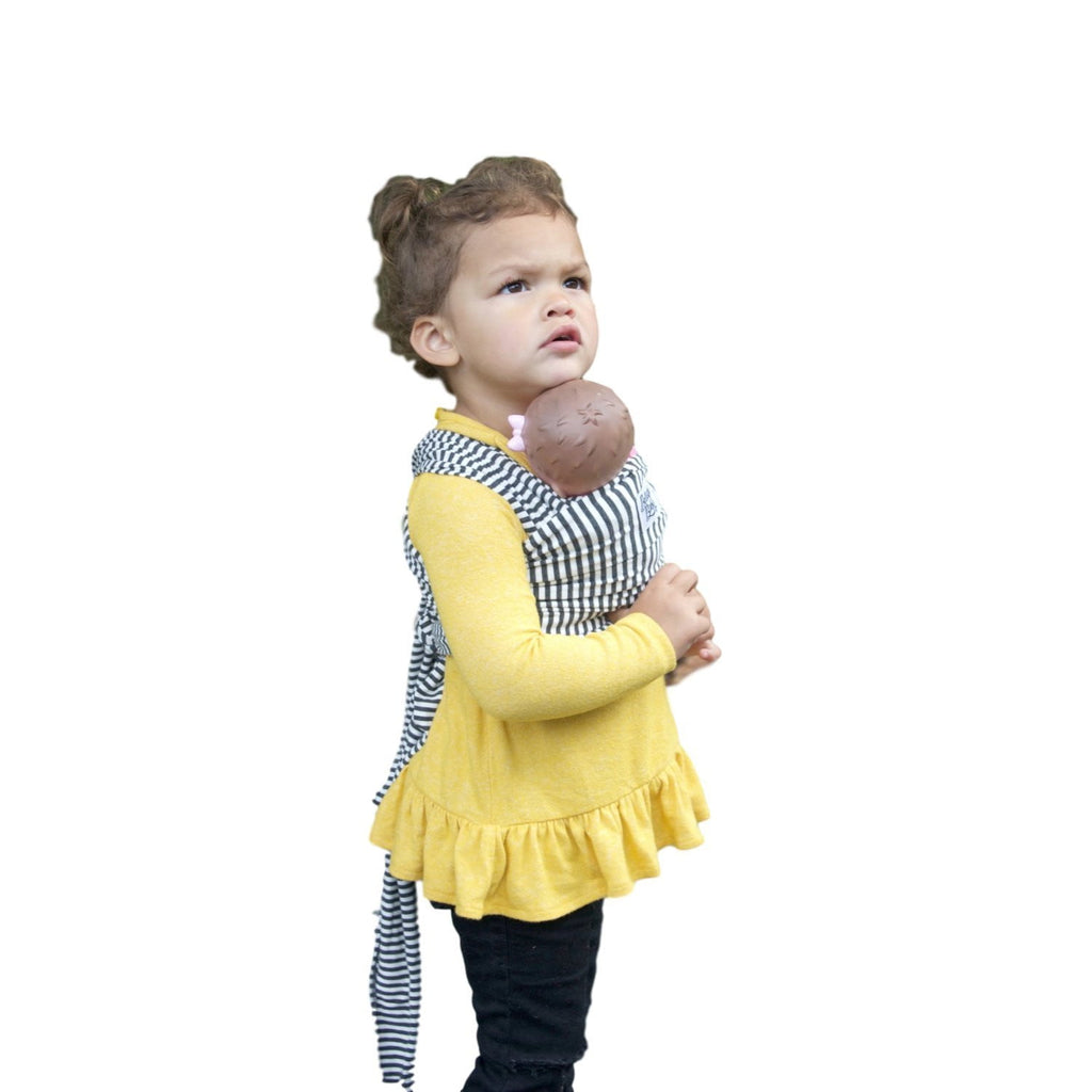 Children's Doll Carrier charcoal + white stripe - The Lori - Beluga Baby - Made in North America