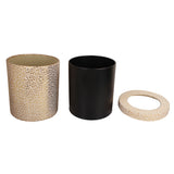Set of Gold Flower Waste Bin, Tissue Box & Coasters