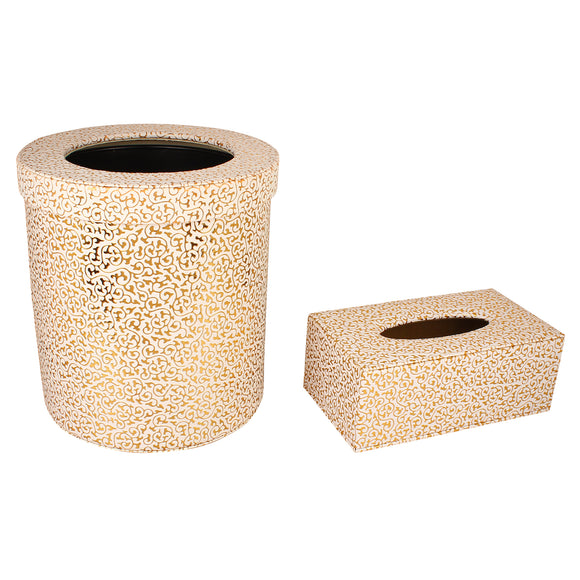 Set of Gold flower tissue box & waste bin