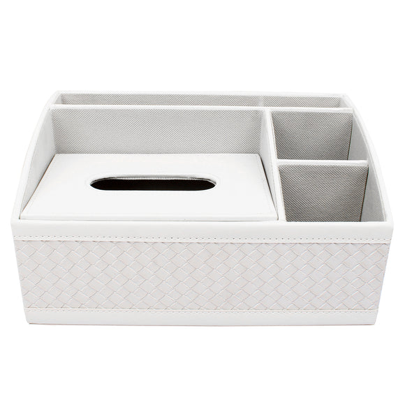 White Check Desk Organizer