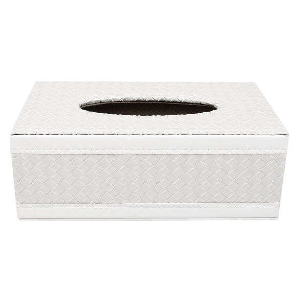 White Check Tissue Box