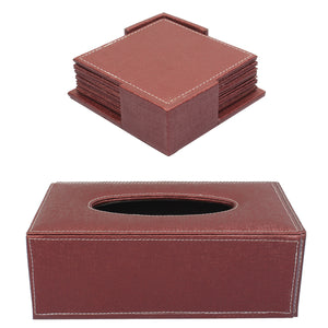 Set Of Tissue Box & Coasters