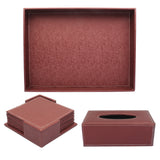 Set of Leather Tray, Tissue Box and Coaster