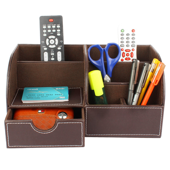 Brown Desk Organizer with 6 compartments