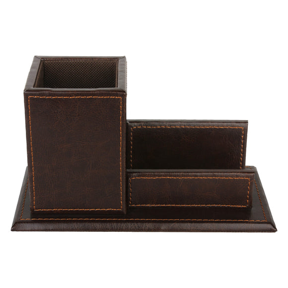 Brown Pen Holder along with a visiting card holder
