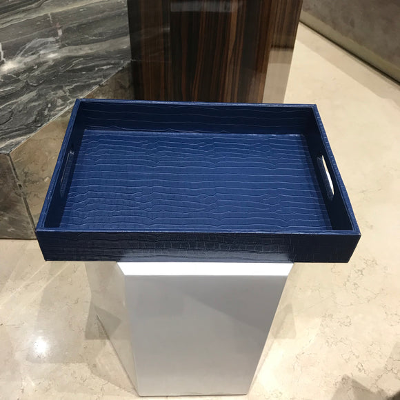 Blue Croco Leather Tray with handle
