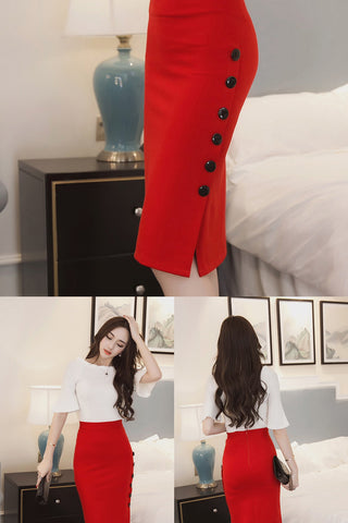 Slim Sexy Open Slit Button Pencil Midi Skirt