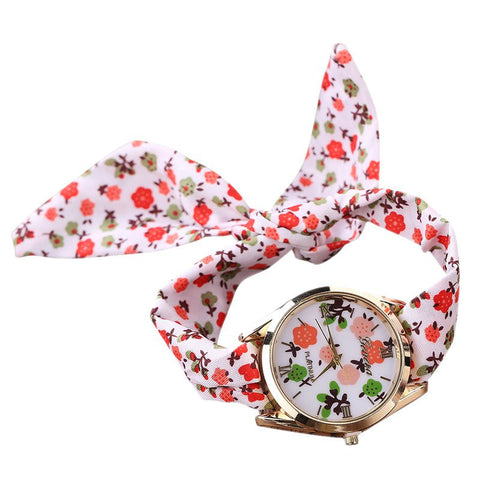 Flower Cloth Women Wrist Watch