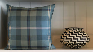 Teal Plaid Square 20""