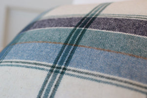 "White & Teal Plaid 20"" Square"