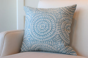 "Blue Suzani 22"" Square Pillow"