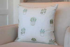 "Garden Pots 22"" Square Pillow"