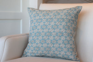 "Six Sided Dot, Aqua 22"" Square Pillow"
