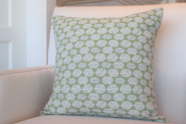 "Six Sided Dot, Green 22"" Square Pillow"