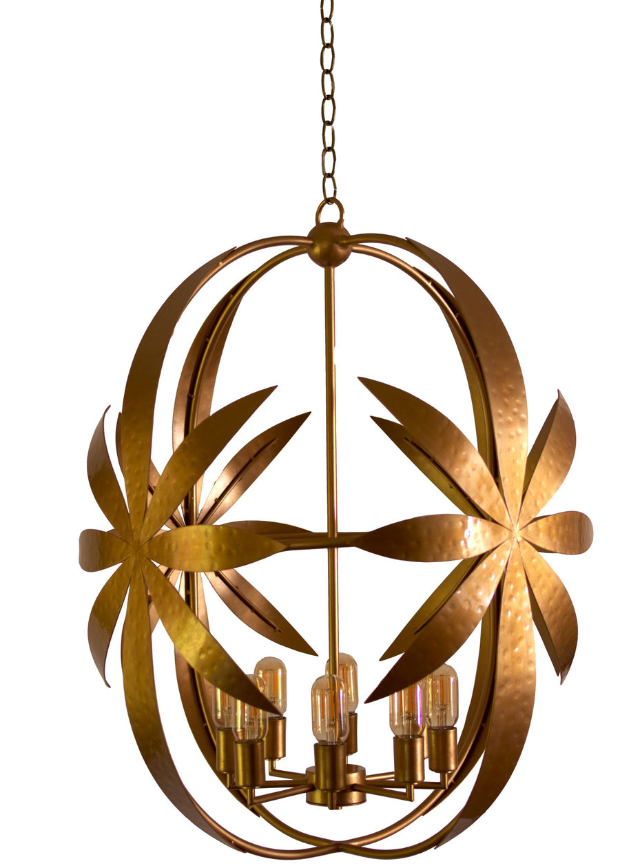 Fleur Chandelier, Estate, Hand-Hammered Finish