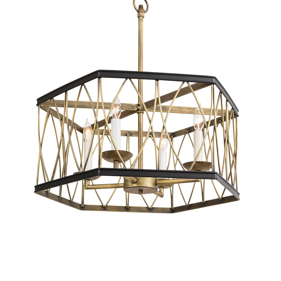 Montparnasse Hexagon Pendant, Medium, 4-light & Semi-Flush(Loop & Chain)