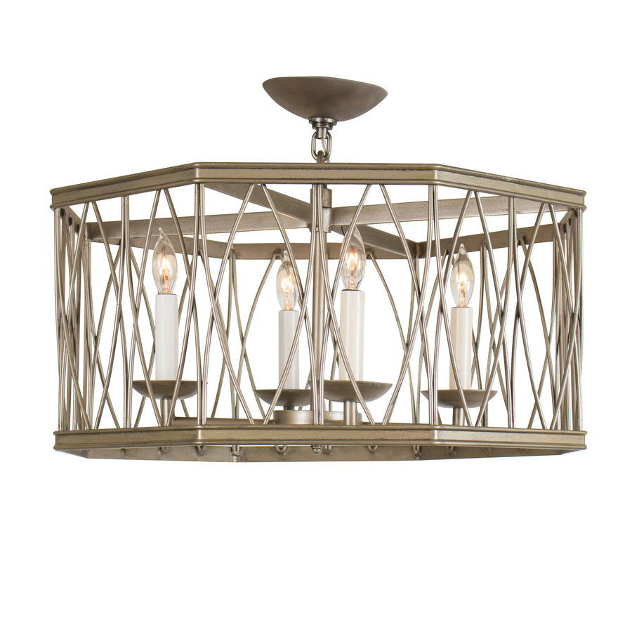 Montparnasse Octagon Pendant, Medium, 4-Light & Semi-Flush (Loop & Chain)