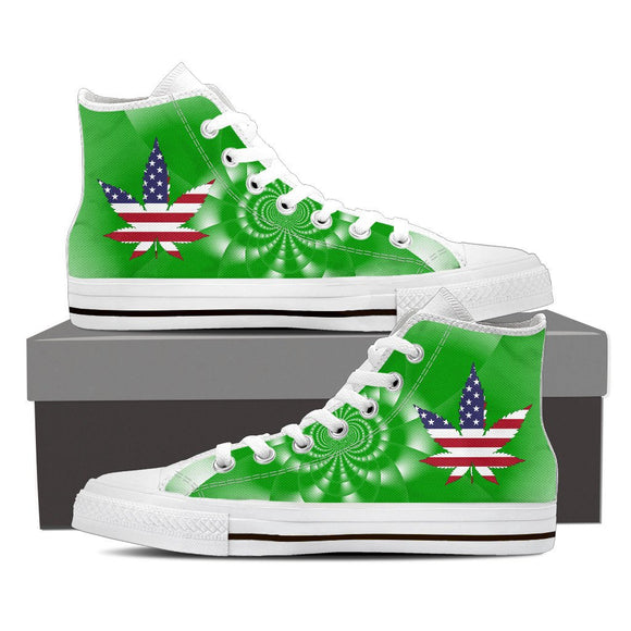 Women's Cannabis Leaf Flag Sneakers Sneakers-Fresh Steals