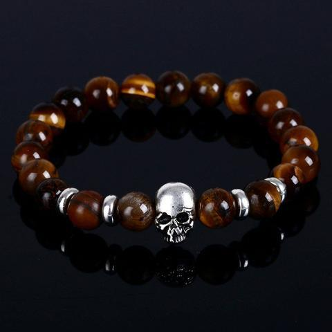 Natural Stone and Calavera Skull Bracelet bracelet-Fresh Steals