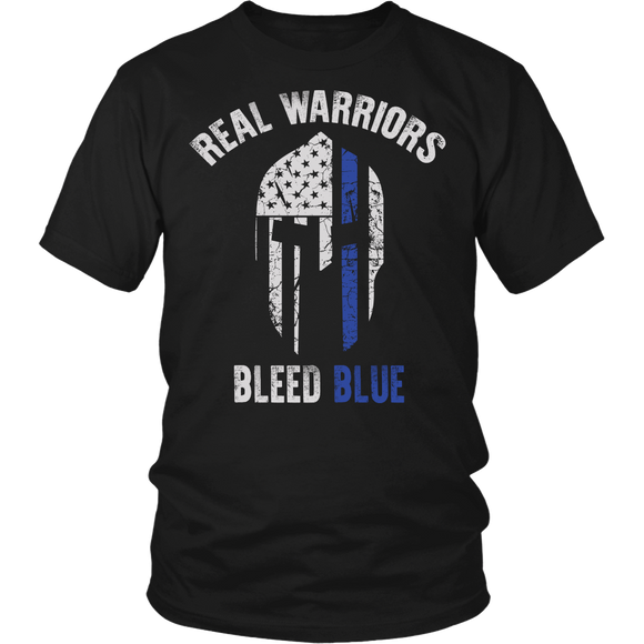 Real Warriors Bleed Blue T-shirt-Fresh Steals