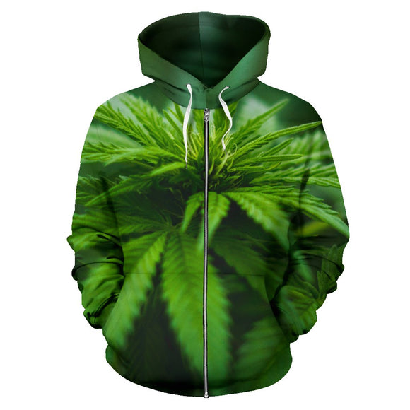 Marijuana Leaf Zip Up Hoodie
