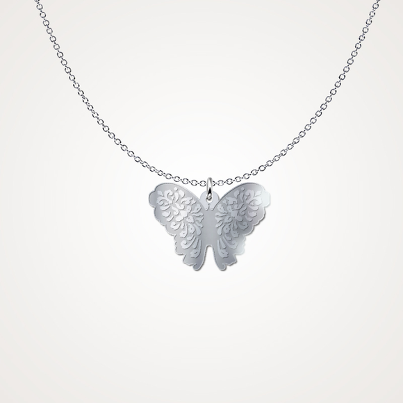 Sterling Silver Butterfly Pendant Freeform Necklace-Fresh Steals