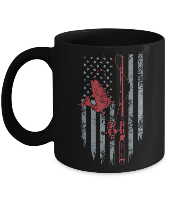 Fishing American Flag Mug Coffee Mug-Fresh Steals