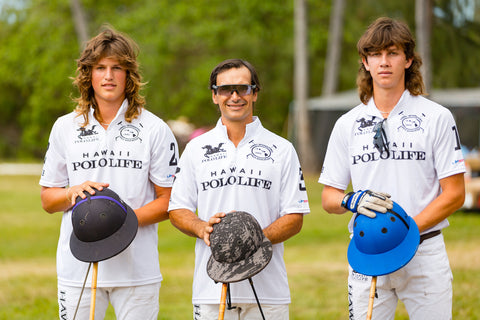 Lucas Escobar, Nico Escobar, and Tatu Gomez Romero playing for Team White of Hawaii Polo Life
