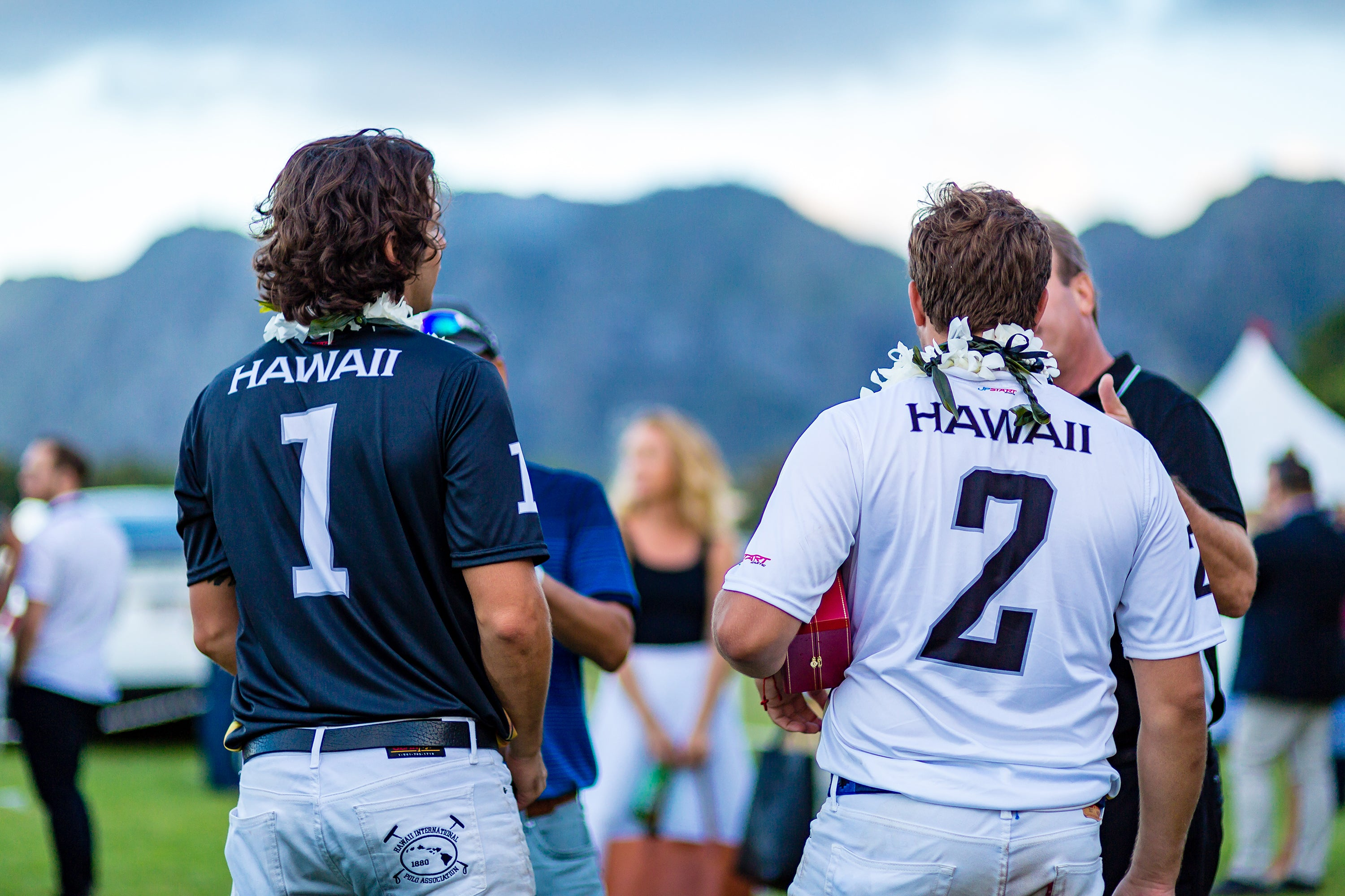 Nano Gracida and  Santi Torres in Hawaii Polo Life Team Jersey's at Hawaii International Polo Association Invitational in Honolulu