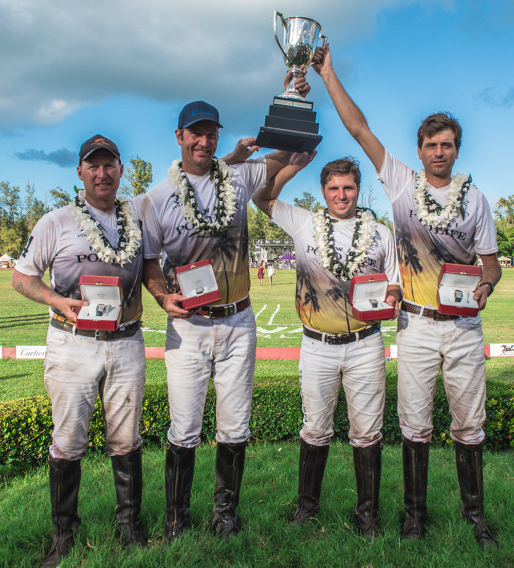 Simon Keyte, John Paul Clarkin, Santi Torres, and Gaston Gassiebayle in Hawaii Polo Life Team Jersey's at the Cartier Winner's Circle at the Kahala Hotel and Resort for the Hawaii International Polo Association Invitational