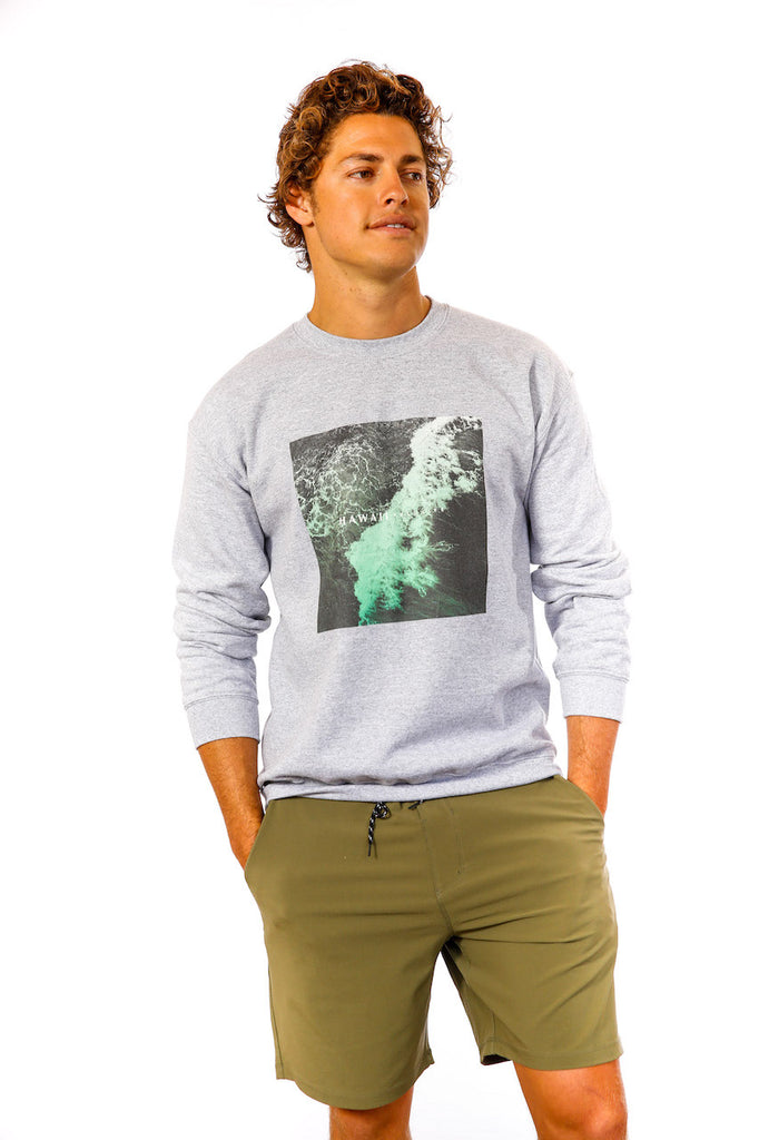 Waikiki Wave Sweatshirt in Athletic Heather Grey