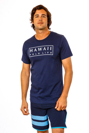 Boxed Logo Tee in Navy