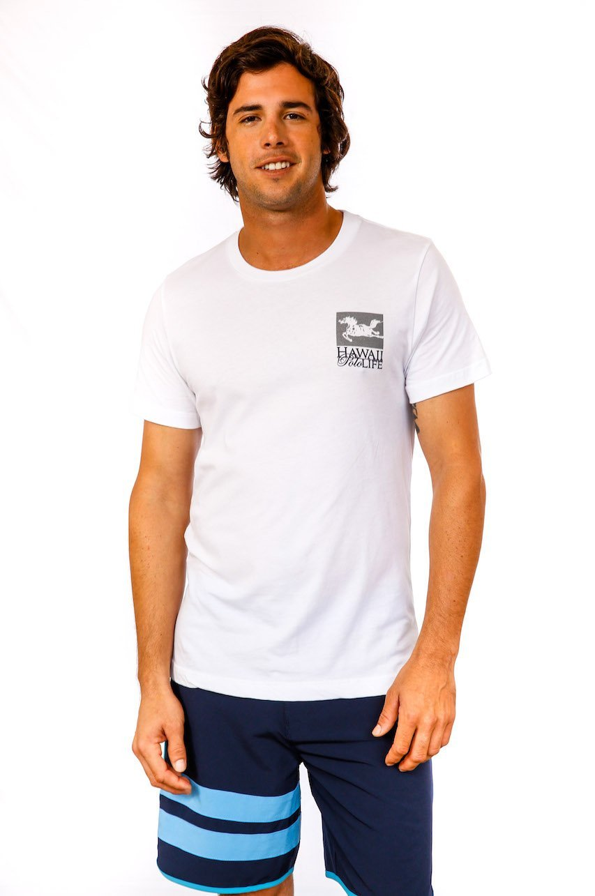 Hawaii Polo Life Horse Logo Tee in White