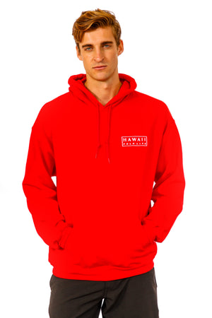 Boxed Logo Hoodie in Red
