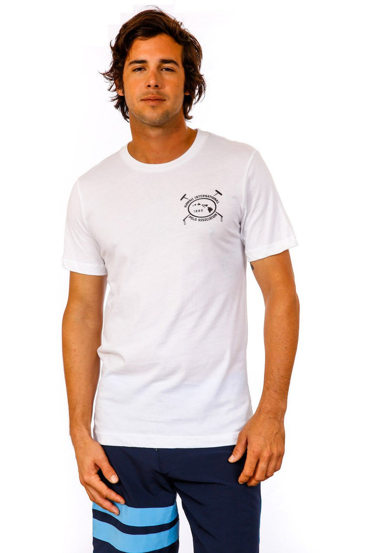 Hawaii International Polo Association Crew Neck Tee in White