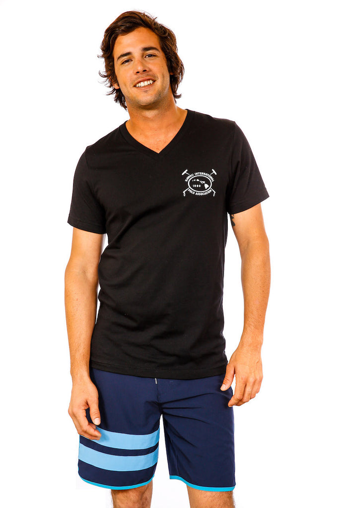 Hawaii International Polo Association Vee Neck in Black