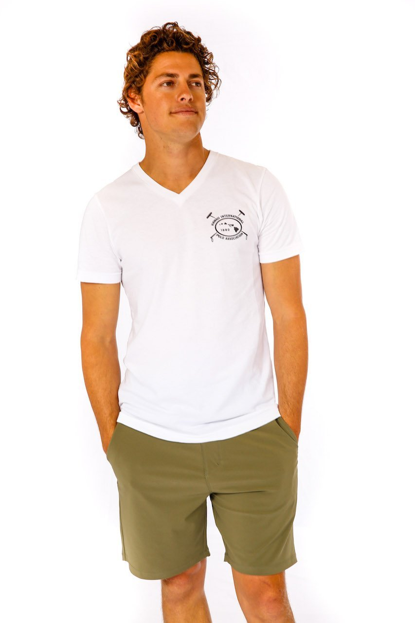 Hawaii International Polo Association V-Neck in White