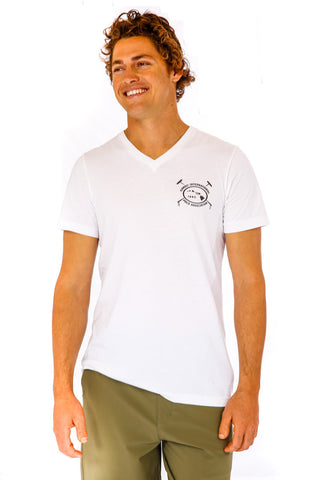 Hawaii International Polo Association Vee Neck in White