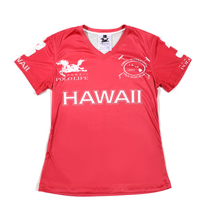Women's Vee Neck Jersey in Red (Hawaii)