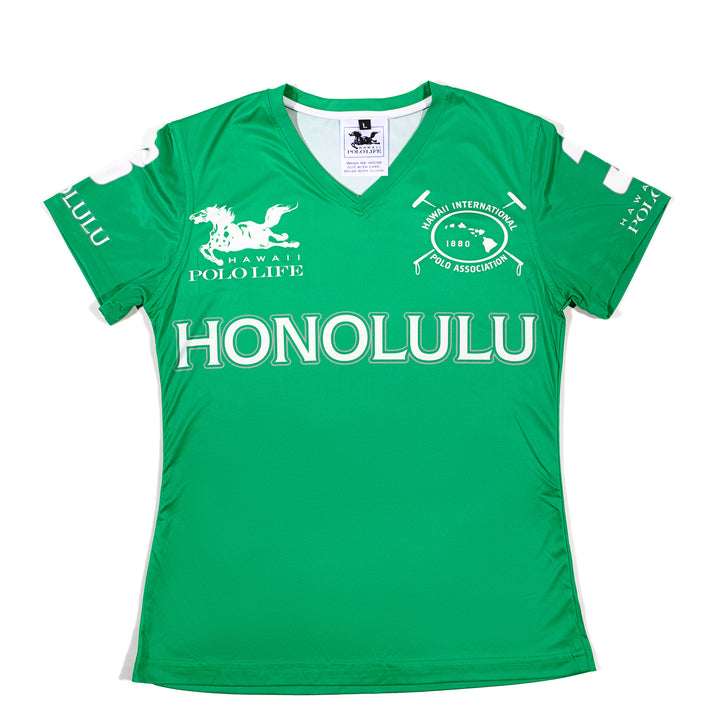 Women's Vee Neck Jersey in Green (Honolulu)