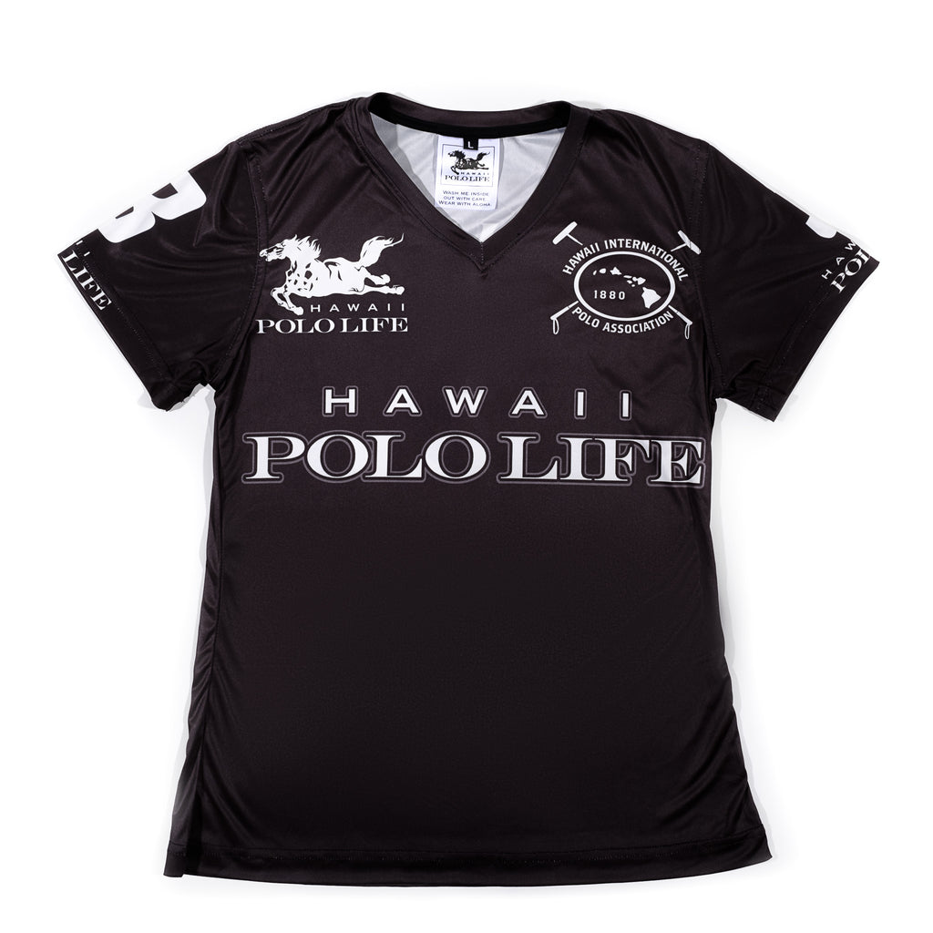 WOMEN'S V-NECK POLO JERSEY - HAWAII POLO LIFE - BLACK